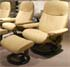 Stressless Ambassador Large Consul Batick Latte Leather Recliner Chair and Ottoman