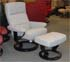Stressless Atlantic Medium Siena Grey Fabric Recliner Chair and Ottoman