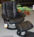 Stressless Kensington Large Mayfair Paloma Black Leather Recliner Chair and Ottoman