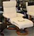 Stressless Memphis Medium Recliner and Ottoman - Classic Vanilla Leather by Ekornes