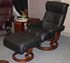 Stressless Memphis Medium Recliner and Ottoman - Paloma Black Leather by Ekornes