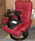 Stressless Oxford Medium Recliner and Ottoman in Batick Burgundy Leather by Ekornes