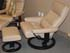 Stressless Pacific Large Paloma Sand Leather Recliner Chair and Ottoman