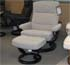 Stressless Pacific Large Siena Grey Fabric Recliner Chair and Ottoman