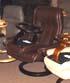 Stressless Royal Medium Recliner and Ottoman - Royalin Dark Brown Leather by Ekornes