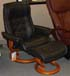 Stressless Royal Large Paloma Black Leather Recliner Chair and Ottoman