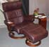 Stressless Savannah Large Recliner and Ottoman - Royalin Amarone Leather by Ekornes