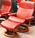 Stressless Ambassador Large Consul Batick Burgundy Leather Recliner Chair and Ottoman
