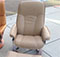 Stressless Medium Consul Paloma Sand Leather Recliner Chair and Ottoman