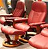 Stressless Medium Consul Batick Burgundy Leather Recliner Chair and Ottoman