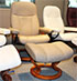 Stressless Consul Paloma Stone Leather Recliner Chair and Ottoman with Cherry Wood Base