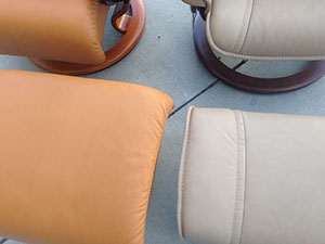 Stressless Tan Cori Leather and Paloma Sand Leather by Ekornes