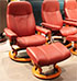 Stressless Diplomat Small Consul Batick Burgundy Leather Recliner Chair and Ottoman