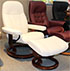 Stressless Diplomat Small Consul Classic Vanilla Leather Recliner Chair and Ottoman