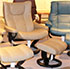 Stressless Eagle Large Wing Paloma Stone Leather Recliner Chair and Ottoman