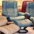 Stressless Kensington Large Mayfair Cori Petrol Leather Recliner Chair and Ottoman