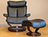 Stressless Magic Medium Leather Recliner Chair and Ottoman by Ekornes