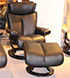 Stressless Small Magic Leather Recliner Chair and Ottoman