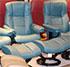 Stressless Medium Mayfair Cori Petrol Leather Recliner Chair and Ottoman