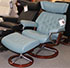 Stressless Skyline Medium Recliner and Ottoman in Cori Petrol Leather