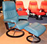 Stressless View Medium Recliner and Ottoman in Cori Petrol Leather