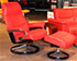 Stressless View Medium Recliner and Ottoman in Paloma Tomato Red Leather