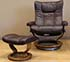 Stressless Wing Paloma Chocolate Leather Recliner Chair and Ottoman