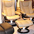 Stressless Wing Medium Recliner and  Ottoman - Paloma Stone Leather