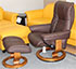 Stressless Kensington Large Mayfair Paloma Leather Recliner Chair and Ottoman