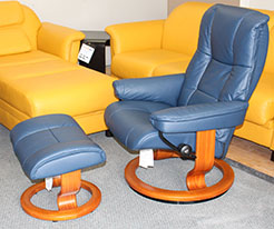 Stressless Kensington Oxford Blue Leather Recliner Chair and Ottoman