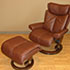Stressless Small Magic Royalin Brown Leather Recliner Chair and Ottoman