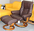 Stressless Mayfair Paloma Chocolate Leather Recliner Chair and Ottoman