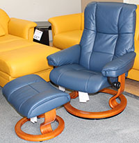 Stressless Mayfair Oxford Blue Leather Recliner Chair and Ottoman