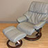 Stressless Tampa Small Reno Royalin Mole Leather Recliner Chair and Ottoman