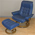 Stressless Royal Paloma Oxford Blue Leather Recliner Chair and Ottoman