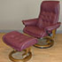 Stressless Royal Large Paloma WineRed Leather Recliner Chair and Ottoman