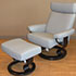 Stressless Taurus Paloma Pearl Grey Leather Recliner Chair and Ottoman