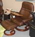 Stressless Sunrise Large Recliner and Ottoman in Paloma Chocolate Leather by Ekornes