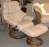 Stressless Tampa Small Reno Recliner and Ottoman - Paloma Sand Leather by Ekornes