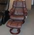 Stressless Vegas Large Reno Recliner Chair and Ottoman in Royalin Amarone Leather