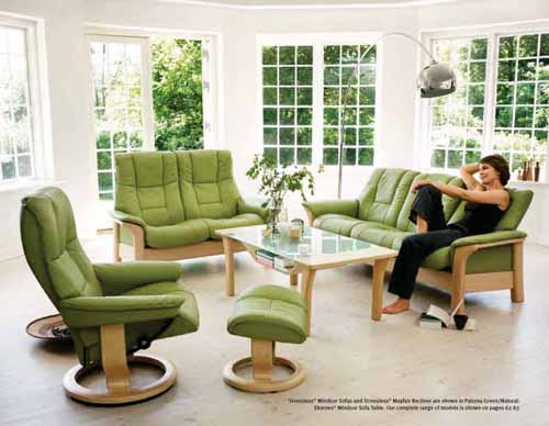 Stressless Large Kensington Recliner Chair - Streeless Windsor Sofa, Table and Mayfair Recliner in Paloma