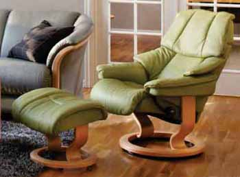 Stressless Recliner Chair Reno in Paloma Green / Natural Wood Finish by Ekornes