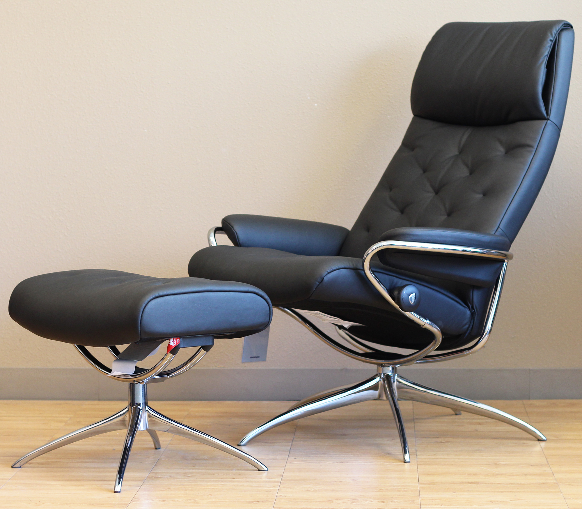 Stressless Metro High Back Paloma Black Leather Recliner Chair By Ekornes