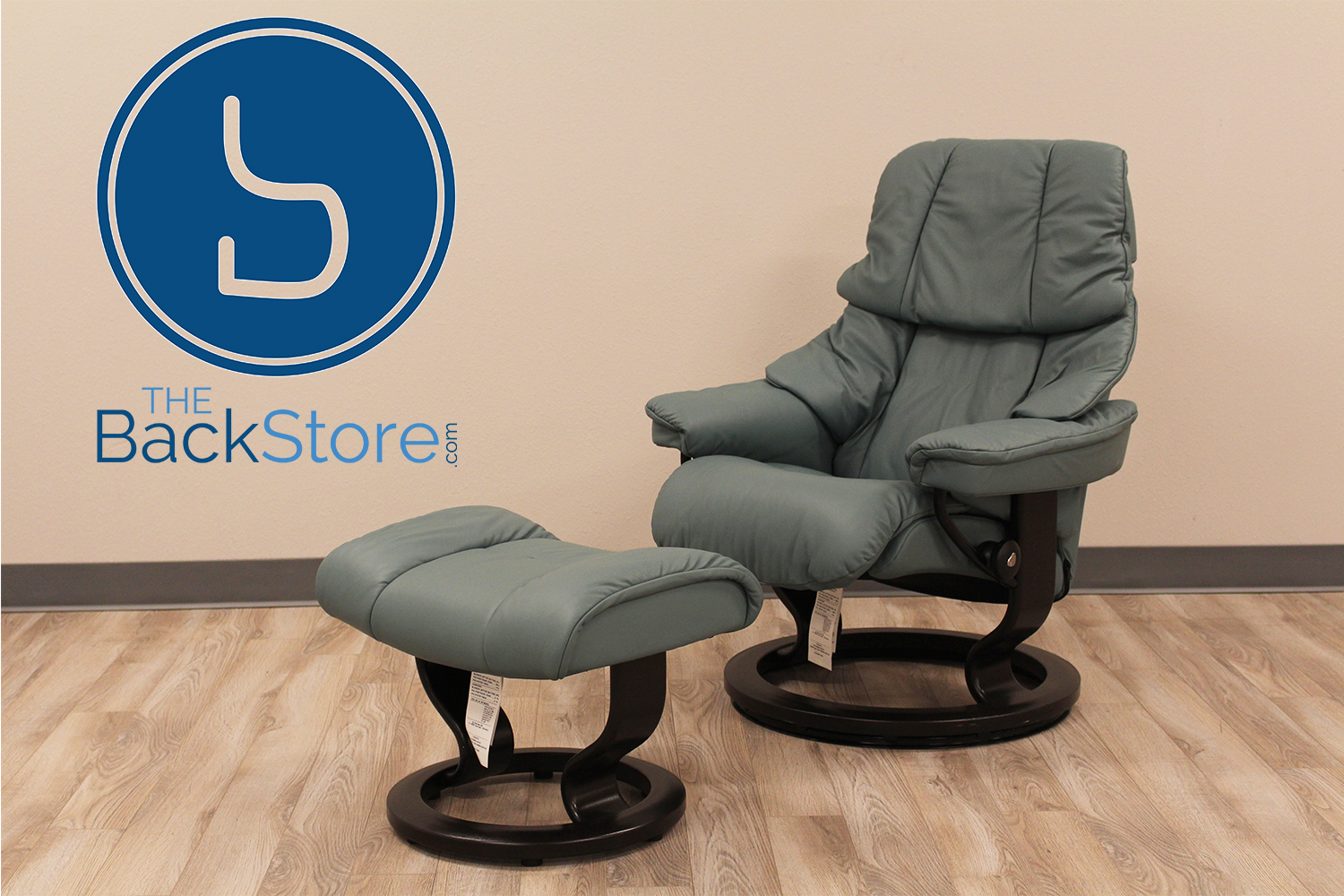 Stressless Reno AquaGreen Leather Recliner Chair By Ekornes