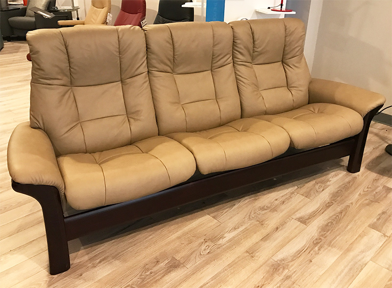 Stressless Buckingham 3 Seat High Back Sofa Paloma Stone Color Leather Recliner