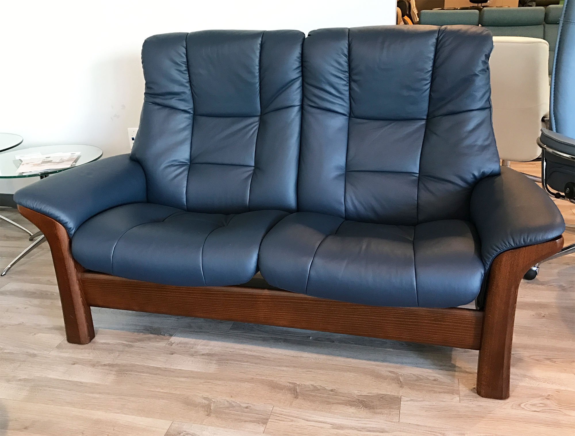 Stressless Buckingham 2 Seat High Back Loveseat Paloma Oxford Blue Leather Brown Walnut Wood Base By Ekornes