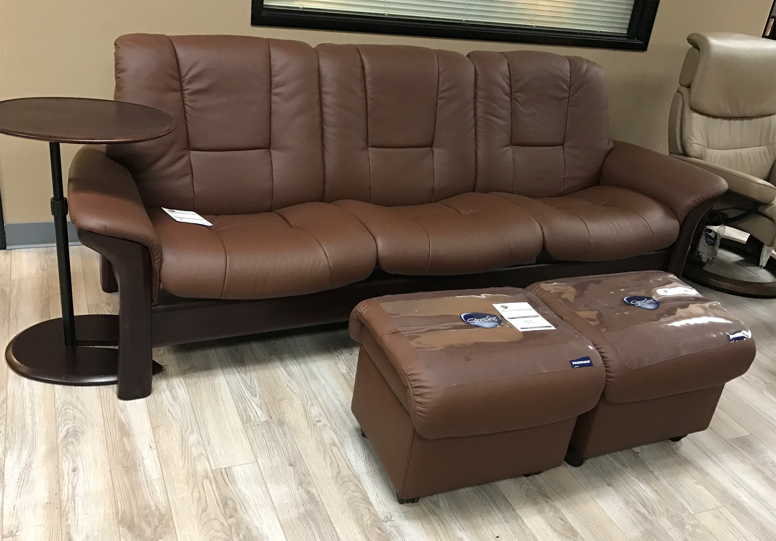 Stressless Buckingham 3 Seat Low Back Sofa Paloma Brown Leather