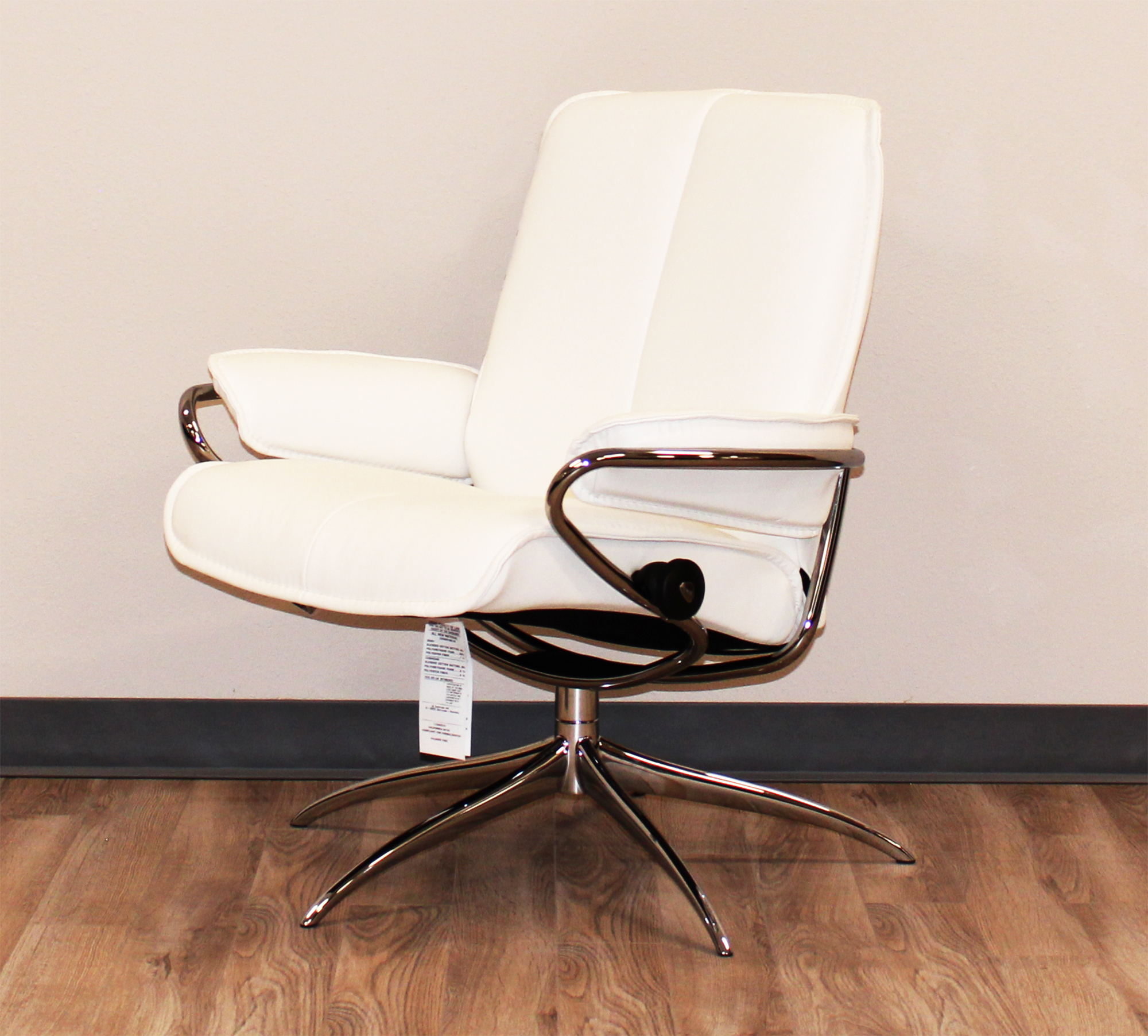 Stressless City Low Back Recliner Chair Batick Snow White Leather By Ekornes