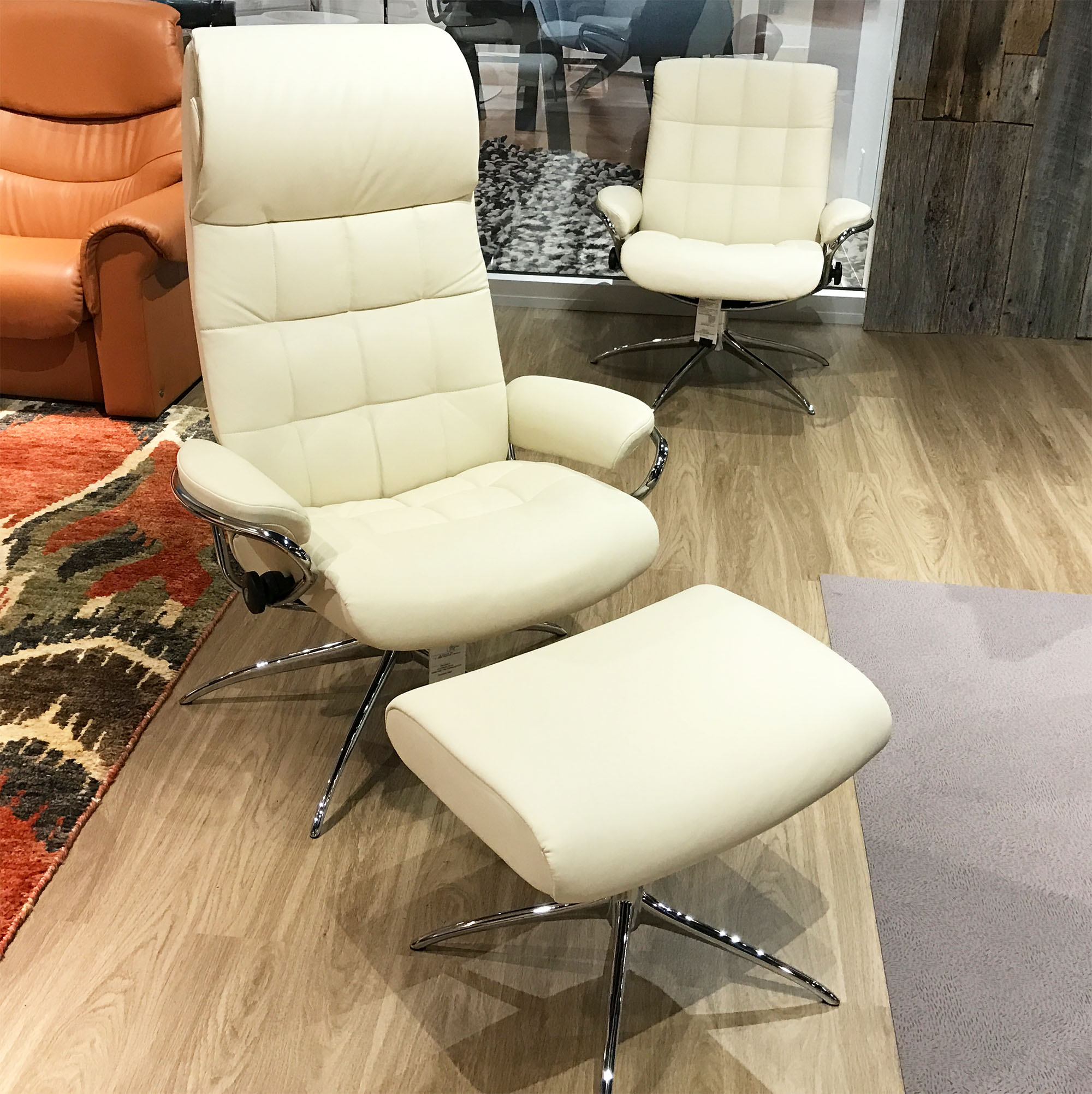 Stressless London High Back Recliner Chair And Ottoman In Paloma Vanilla  White Leather By Ekornes