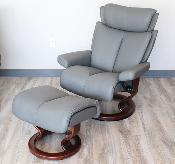 Stressless Magic Paloma Metal Grey Color Leather Recliner And Ottoman